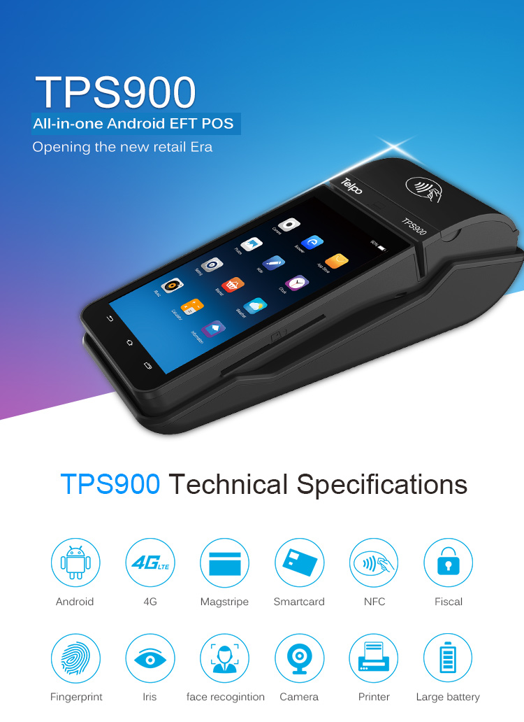 Telpo-Telpo Best Efd Pos Terminal With Charging Docker Portable Eftpos