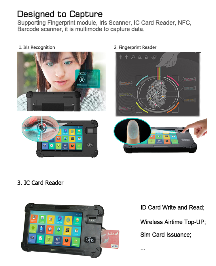 Telpo-Best 8-inch Protable Biometrics Iris Scanner Device Tps450 - Telpo-3