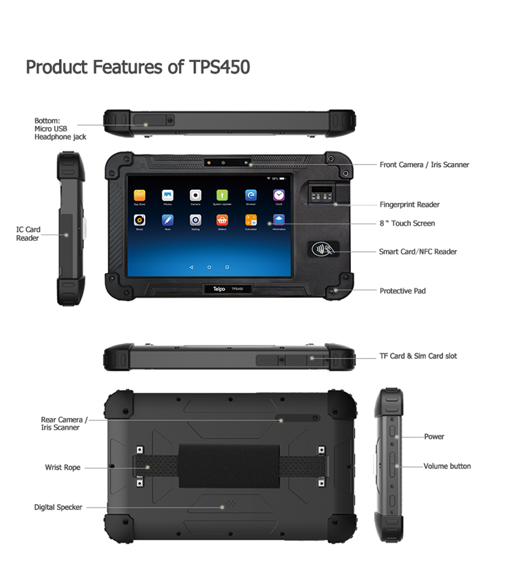 Telpo-Best 8-inch Protable Biometrics Iris Scanner Device Tps450 - Telpo-6