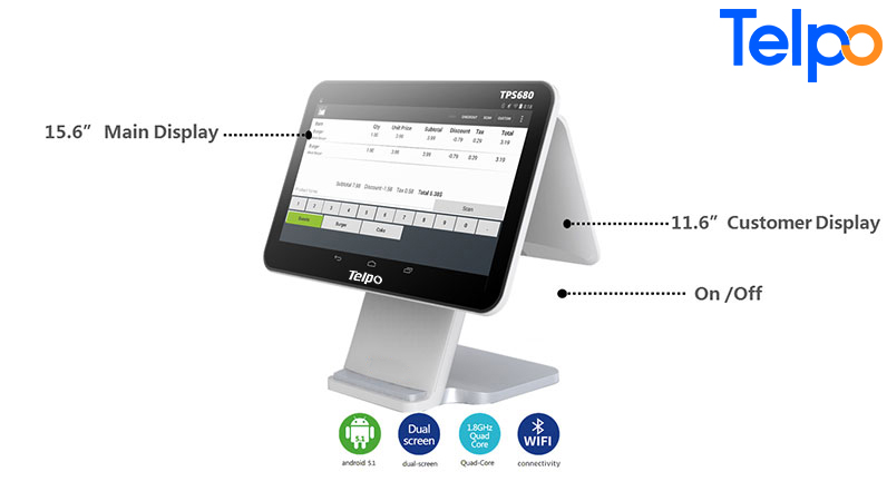Telpo-Simple Dual Screen 5th Generation Android Cash Register Tps680-9