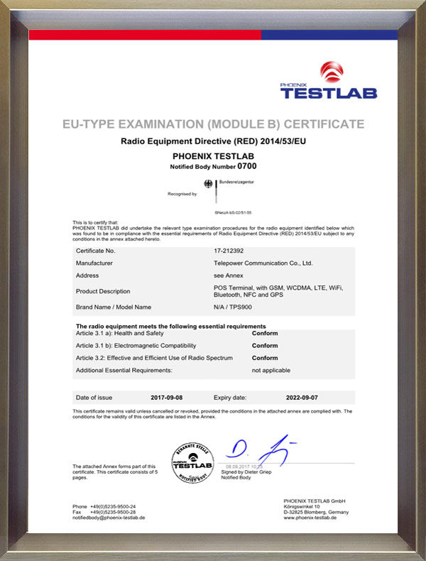 TPS900 CE-REDCertificate 1