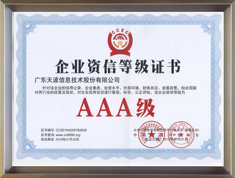 Enterprise Credit Rating Certificate AAA